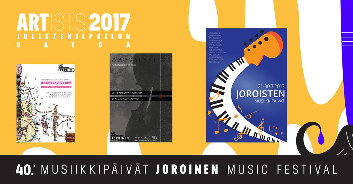 Joroisten Musiikkipäivät 40 vuotta – Artists 2017 -julistesuunnittelukilpailun voittajat selvillä